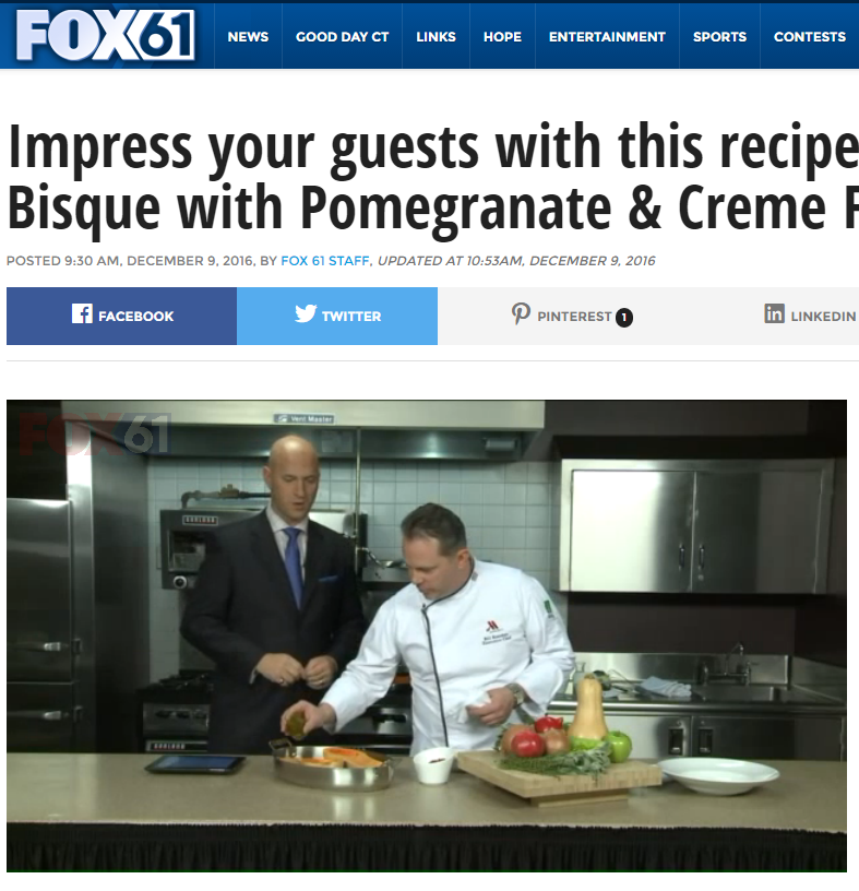 Chef Bill Reardon Appears on Fox 61